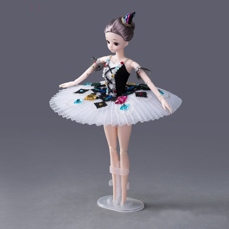 DOLLY's BALLERINA DOLL HANDMADE PANCAKE TUTU T003 black/ white