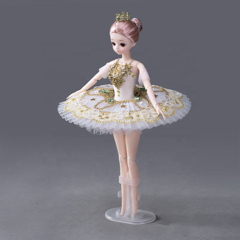 [ OUTLET] DOLLY's BALLERINA DOLL WITH A HANDMADE MINI PANCAKE TUTU T004 white/ gold