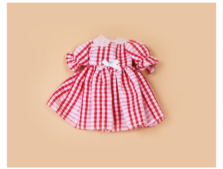 DOLL CLOTHING A02 for LUCKY Doll Bjd 1/6 checkered dress red