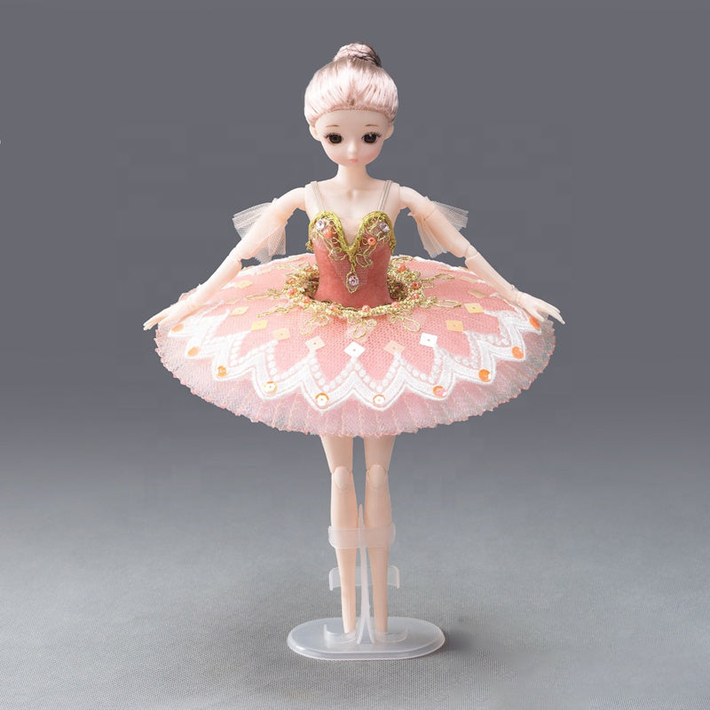DOLLY's BALLERINA DOLL WITH A HANDMADE MINI PANCAKE TUTU T012 dusty pink