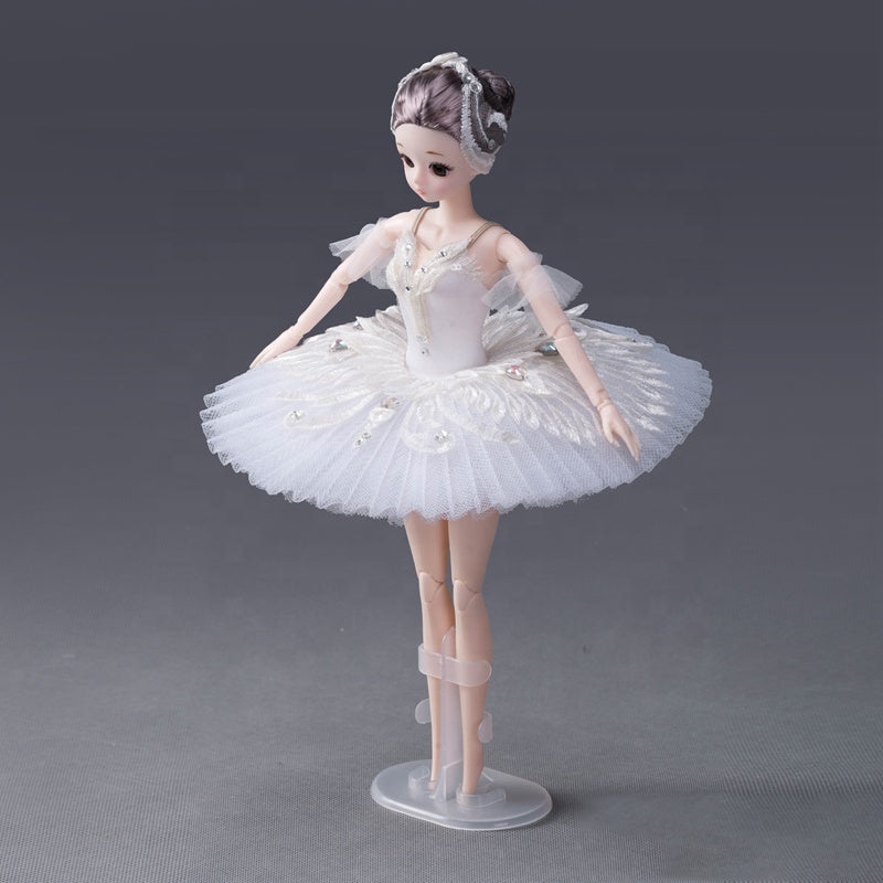 DOLLY's BALLERINA DOLL HANDMADE MINI PANCAKE TUTU T005 white