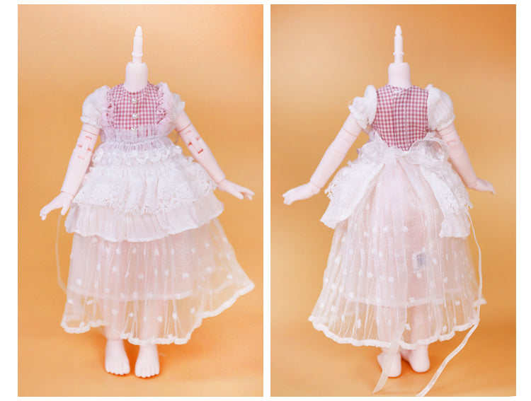 DOLL CLOTHING A10 for LUCKY Doll Bjd 1/6 white lace dress