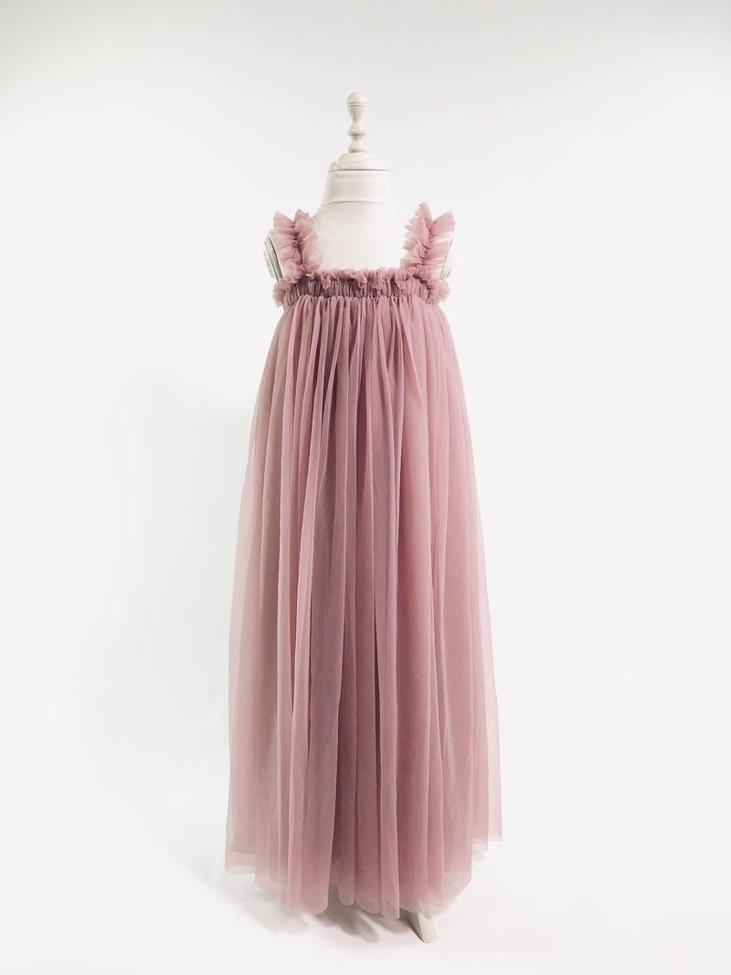 [OUTLET!] DOLLY by Le Petit Tom ® MAXI TUTU DRESS BEACH COVER UP mauve
