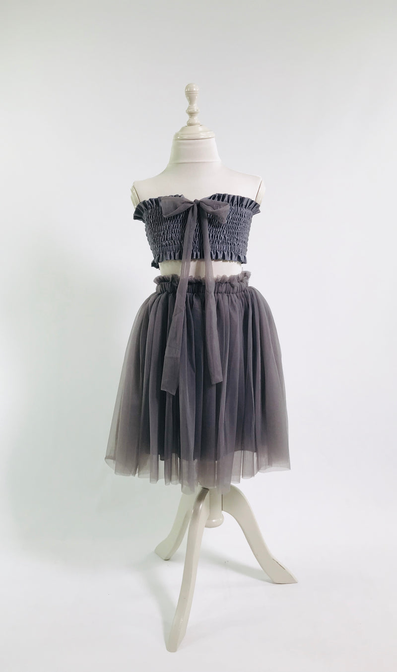 DOLLY by Le Petit Tom ® TUTU DRESS BEACH COVER UP dark grey