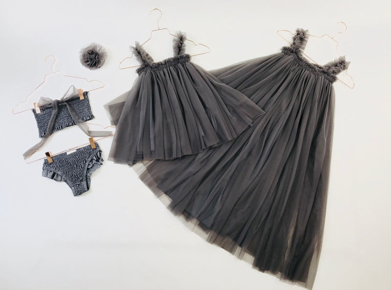 DOLLY by Le Petit Tom ® MAXI TUTU DRESS BEACH COVER UP dark grey