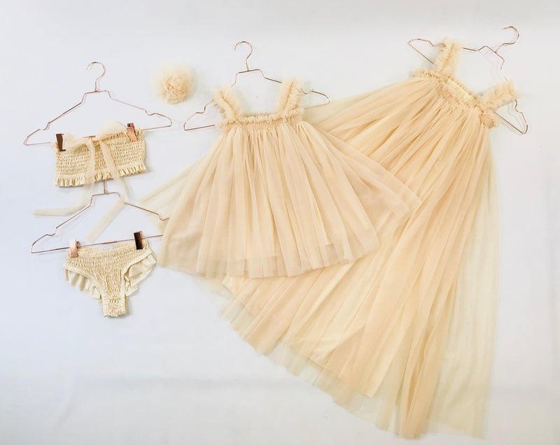 [OUTLET!] DOLLY by Le Petit Tom ® MAXI TUTU DRESS BEACH COVER UP cream