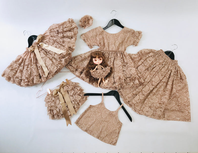 DOLLY by Le Petit Tom ® LACY FRILLY PANTS TUTU BLOOMER taupe