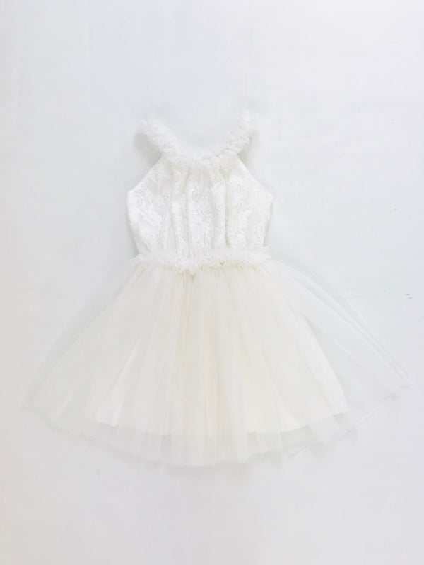 DOLLY by Le Petit Tom ® LACY NECKLACE SHORT TUTU DRESS off-white