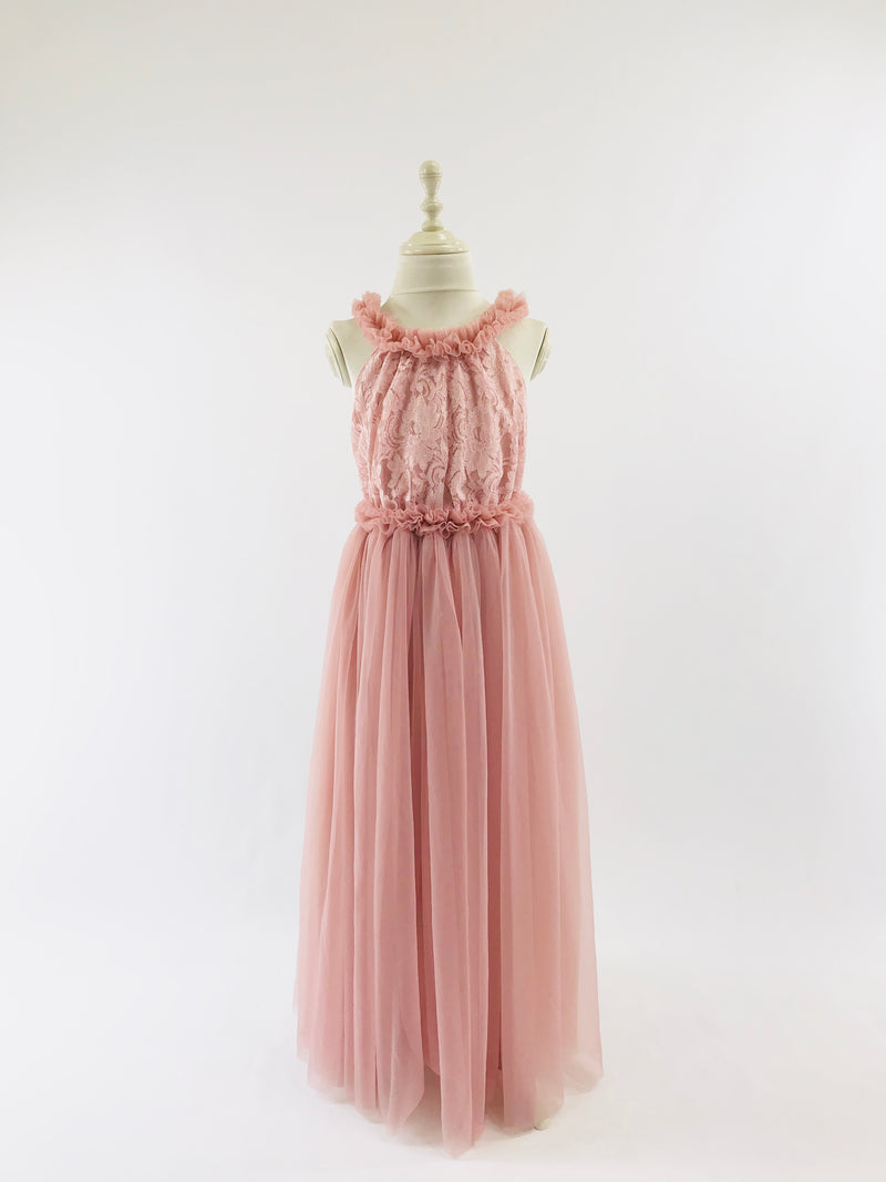 DOLLY by Le Petit Tom ® LACY NECKLACE MAXI TUTU DRESS pink