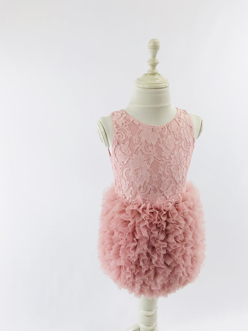 DOLLY by Le Petit Tom ® LACY RUFFLED BALLOON DRESS pink