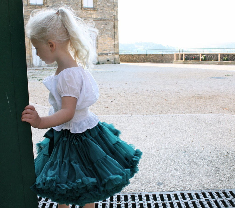 DOLLY by Le Petit Tom ® BLUE BIRD pettiskirt emerald - DOLLY by Le Petit Tom ®