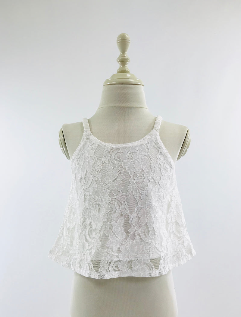 DOLLY by Le Petit Tom ® LACY SPAGHETTI TOP off-white