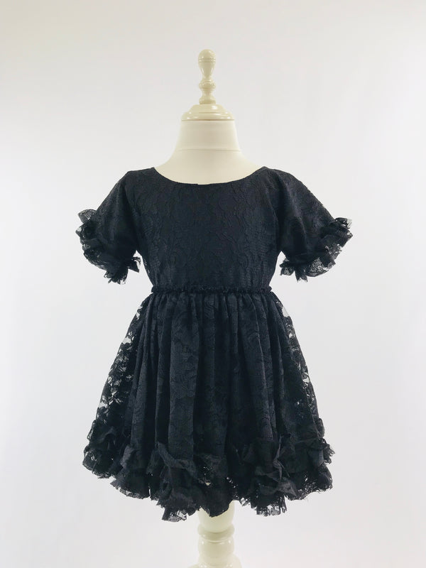 DOLLY by Le Petit Tom ® LACY FRILLY DRESS black
