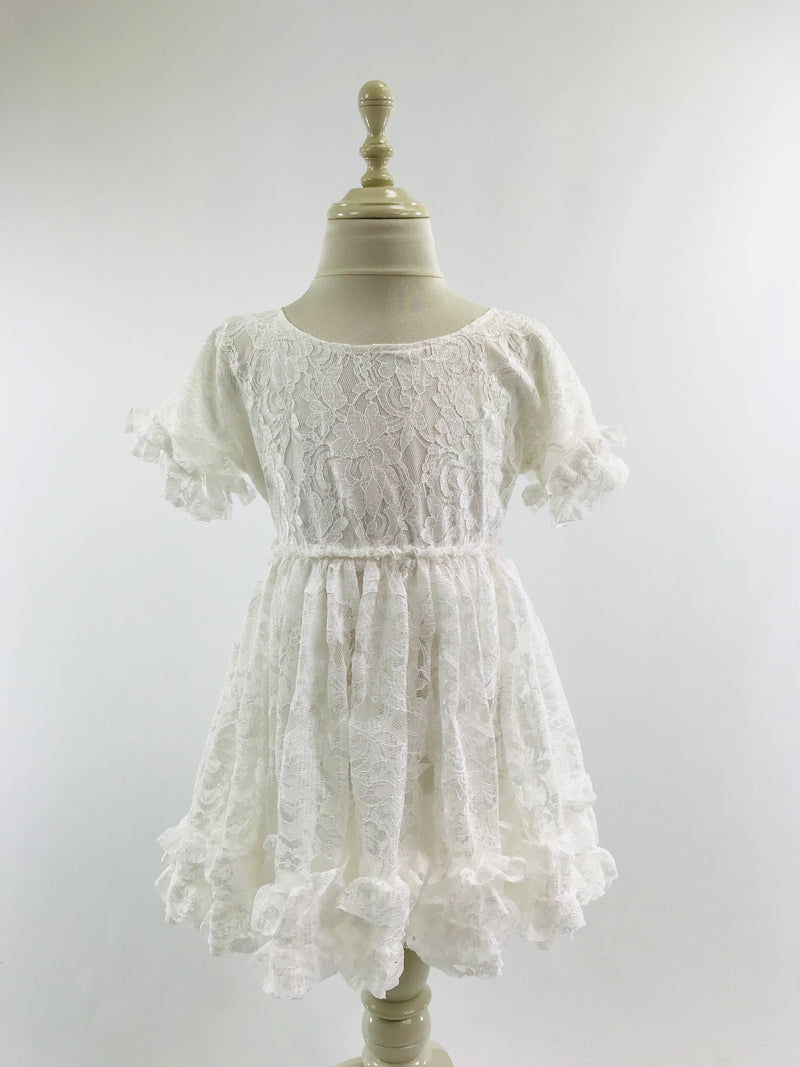 DOLLY by Le Petit Tom ® LACY FRILLY DRESS off-white