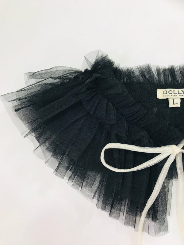 DOLLY GOLIGHTLY TULLE NECK RUFFLE black