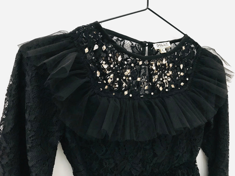 DOLLY by Le Petit Tom ® JEWELER'S CRYSTALS Lace dress with chest ruffle black