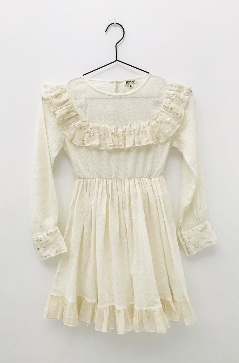 [ OUTLET!] DOLLY by Le Petit Tom ® JEWELER'S CRYSTALS cotton dress with chest ruffle
