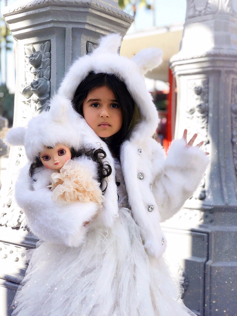 ANGELA Doll clothing DOLLY's FUR HAT WITH EARS ICE BEAR white-dolls-DOLLY by Le Petit Tom ®