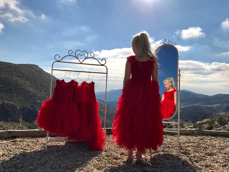DOLLY by Le Petit Tom ® WHIMSICAL LONG DRESS red - DOLLY by Le Petit Tom ®