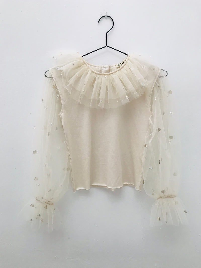 [OUTLET] DOLLY by Le Petit Tom ® JEWELER'S CRYSTALS tulle sleeves top