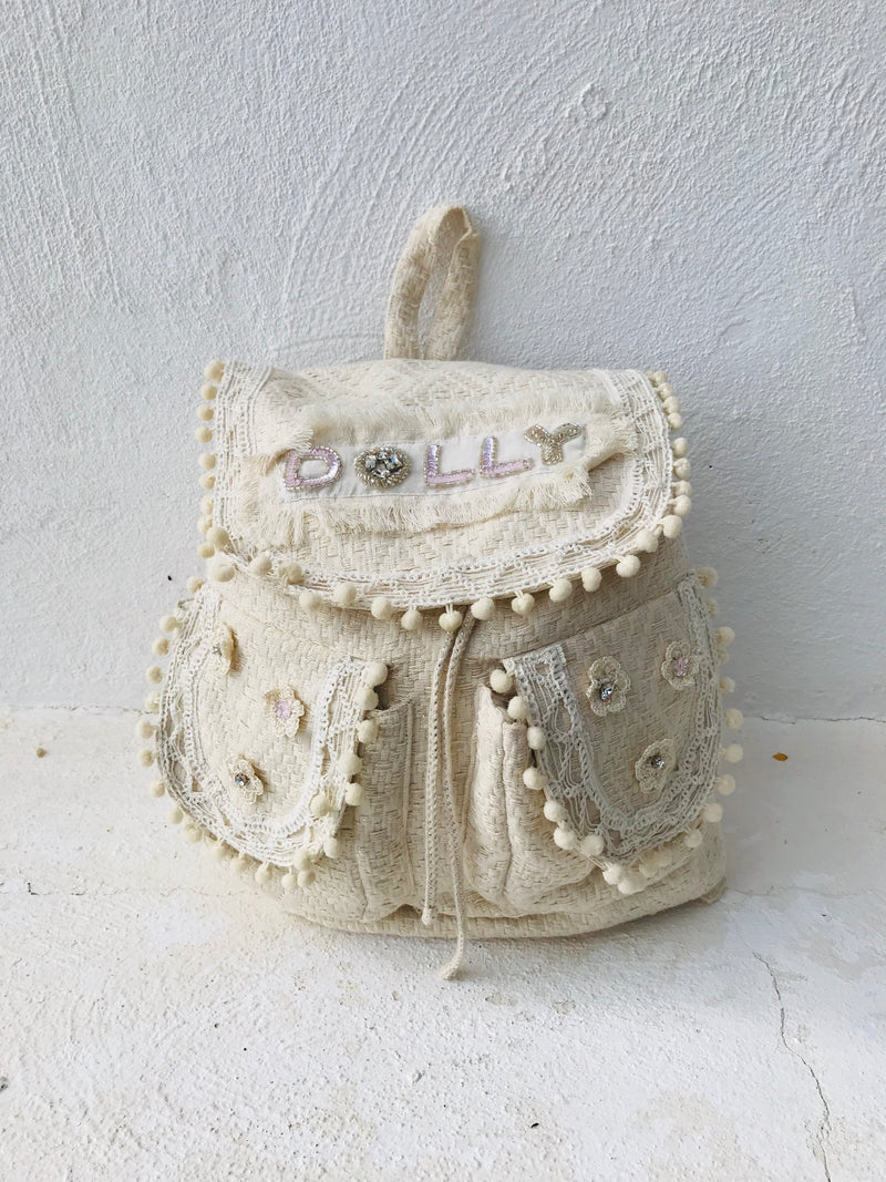 DOLLY JEWELER'S CRYSTALS Crystals backpack 'Dolly' with pompoms