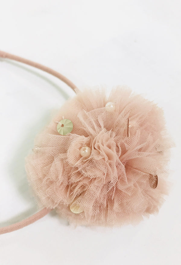 DOLLY by Le Petit Tom ® JEWELER'S CRYSTALS pompom energy headband ballet pink