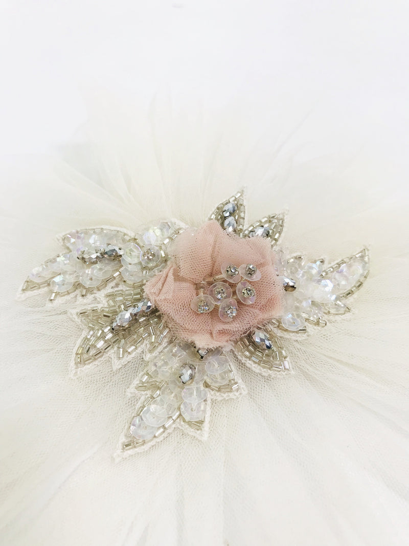[ PRE ORDER !] DOLLY by Le Petit Tom ® JEWELER'S CRYSTALS Opal ballet pink hair clip/ broach