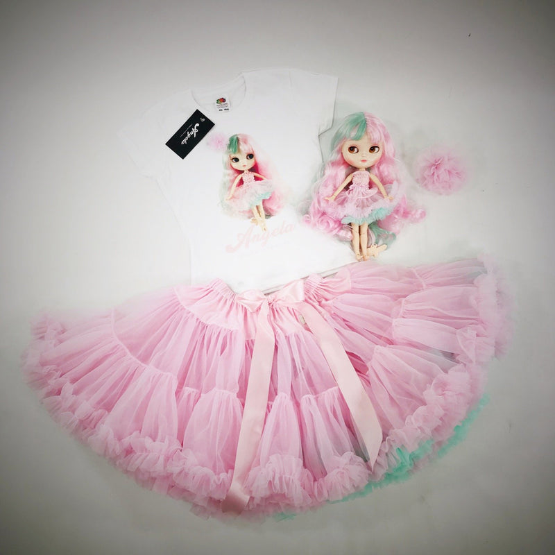 [ PRE ORDER *] DOLLY by Le Petit Tom ® UNICORN pettiskirt baby pink with turquoise