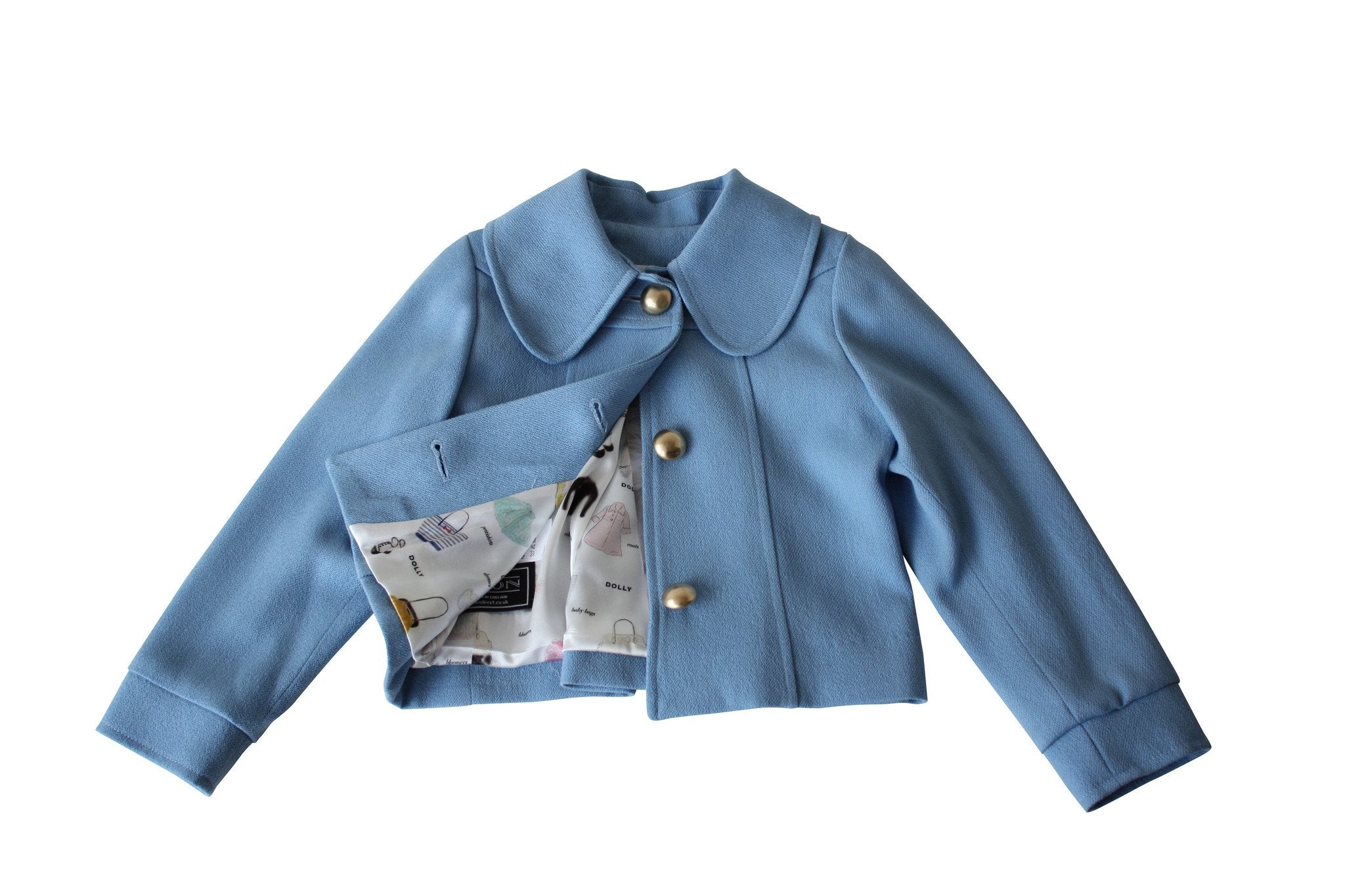 LA DOLLY 'the  DOLL JACKET & SCARF' crepe - made in Italy - light blue