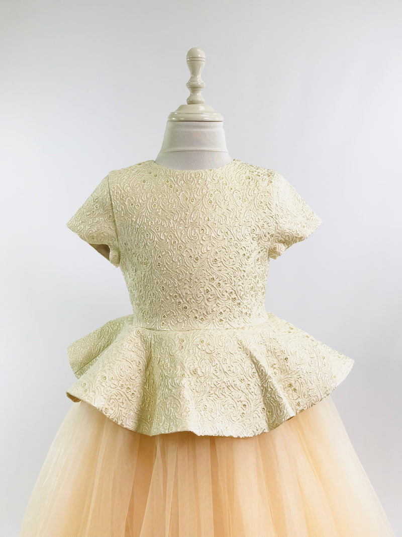 [OUTLET!] DOLLY by Le Petit Tom ® VIVID ANIMATED PRINCESS BELLE JACQUARD DRESS gold