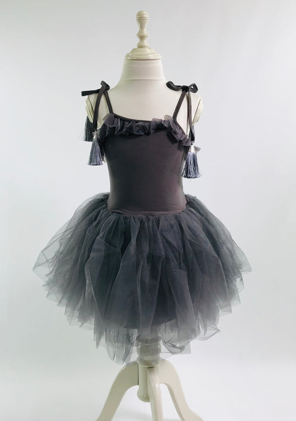 [OUTLET!] DOLLY by Le Petit Tom ® TASSEL TUTU DRESS dark grey