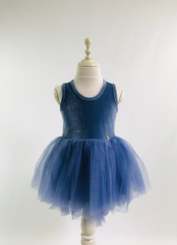 [OUTLET!] DOLLY by Le Petit Tom ® VELVET ESSENTIAL TUTU DRESS blue