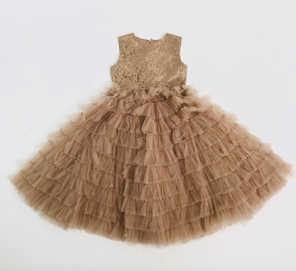 [OUTLET!] DOLLY by Le Petit Tom ® TOTALLY RUFFLED LACE DRESS taupe