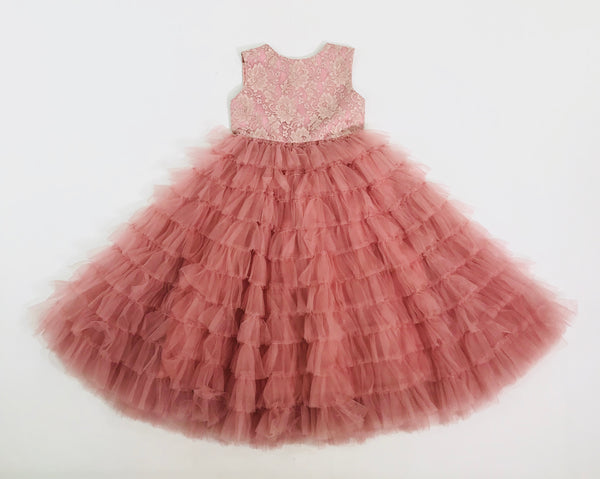 [OUTLET!] DOLLY by Le Petit Tom ® TOTALLY RUFFLED LACE DRESS dusty pink
