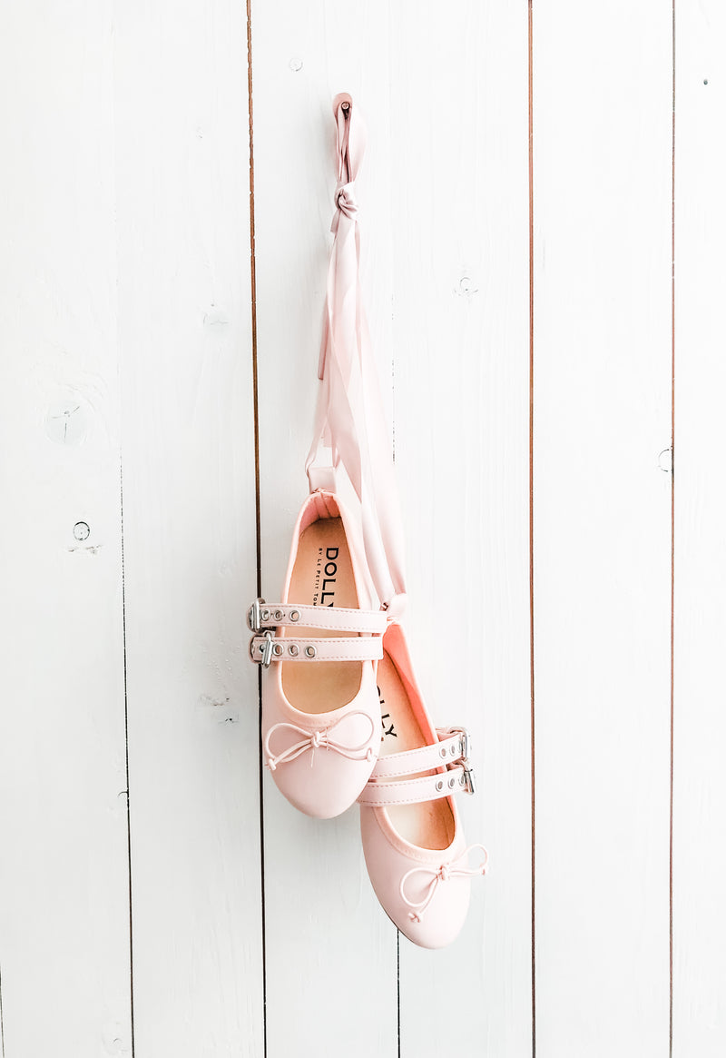 DOLLY BUCKLE BELT BALLERINAS WITH RIBBONS ( Including FREE Buckle Waist Belt!) pink