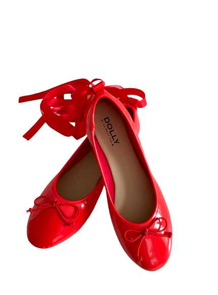 DOLLY by Le Petit Tom ® CLASSIC BALLERINAS WITH LACE UP RIBBONS red