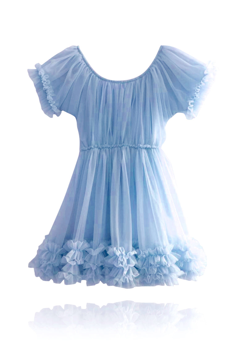 DOLLY by Le Petit Tom ® FRILLY DRESS light blue
