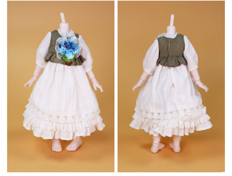 DOLL CLOTHING A25 for LUCKY Doll Bjd 1/6  dress, bunny ears white