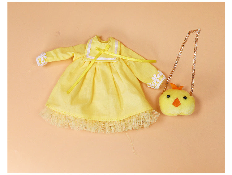 DOLL CLOTHING A07 for LUCKY Doll Bjd 1/6  yellow dress, chicken bag