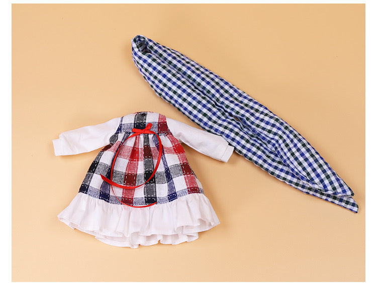 DOLL CLOTHING A06 for LUCKY Doll Bjd 1/6 plaid dress