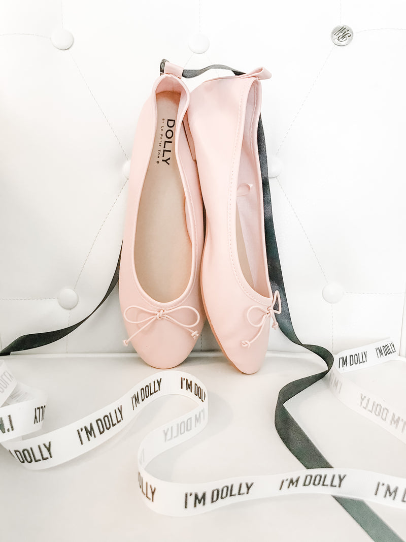 DOLLY by Le Petit Tom ® CLASSIC BALLERINAS WITH LACE UP RIBBONS pink