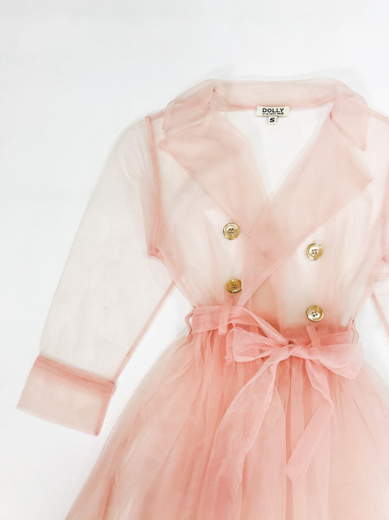 DOLLY GOLIGHTLY Breakfast @ Tiffany's TULLE TRENCHCOAT ballet pink
