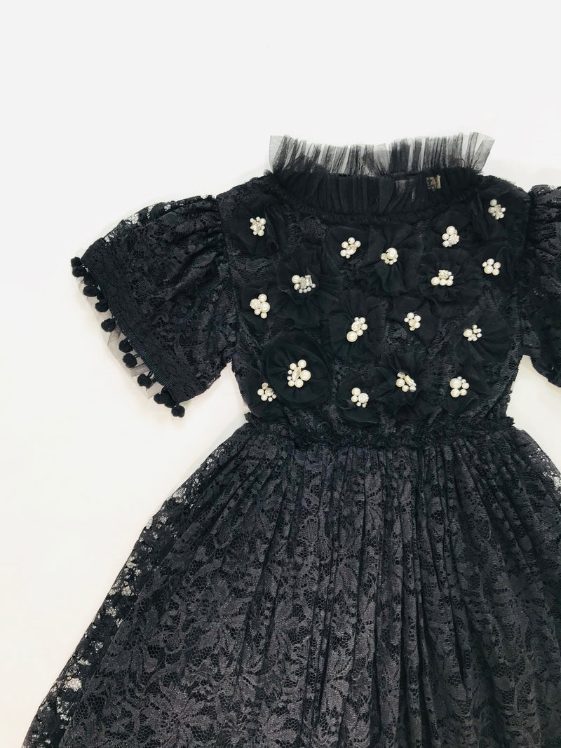 DOLLY by Le Petit Tom ® JEWELER'S CRYSTALS Diamonds & Pearls Lace dress with pompoms black