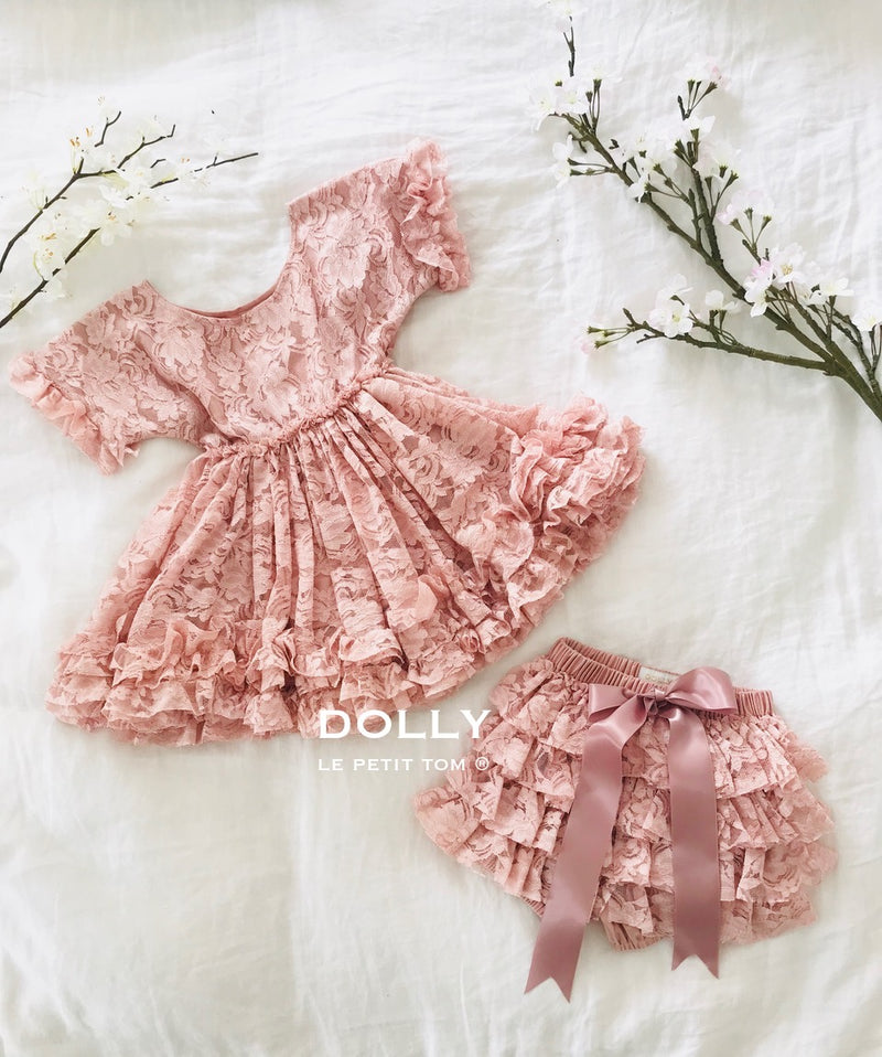 [OUTLET] DOLLY by Le Petit Tom ® LACY FRILLY PANTS TUTU BLOOMER pink