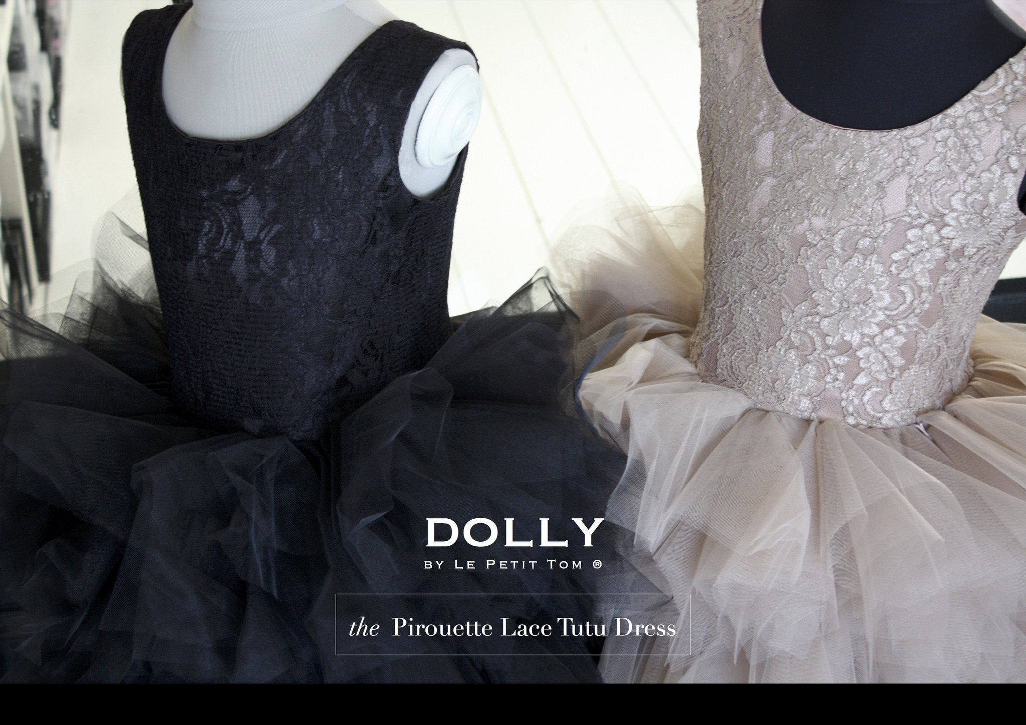 DOLLY by Le Petit Tom ® the PIROUETTE DRESS black