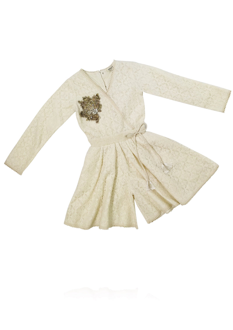DOLLY by Le Petit Tom ® BOHO lace romper playsuit maple leaf ecru - DOLLY by Le Petit Tom ®