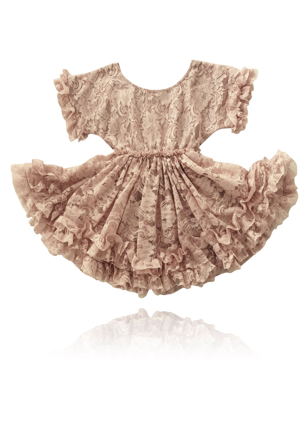 DOLLY by Le Petit Tom ® LACY FRILLY DRESS taupe