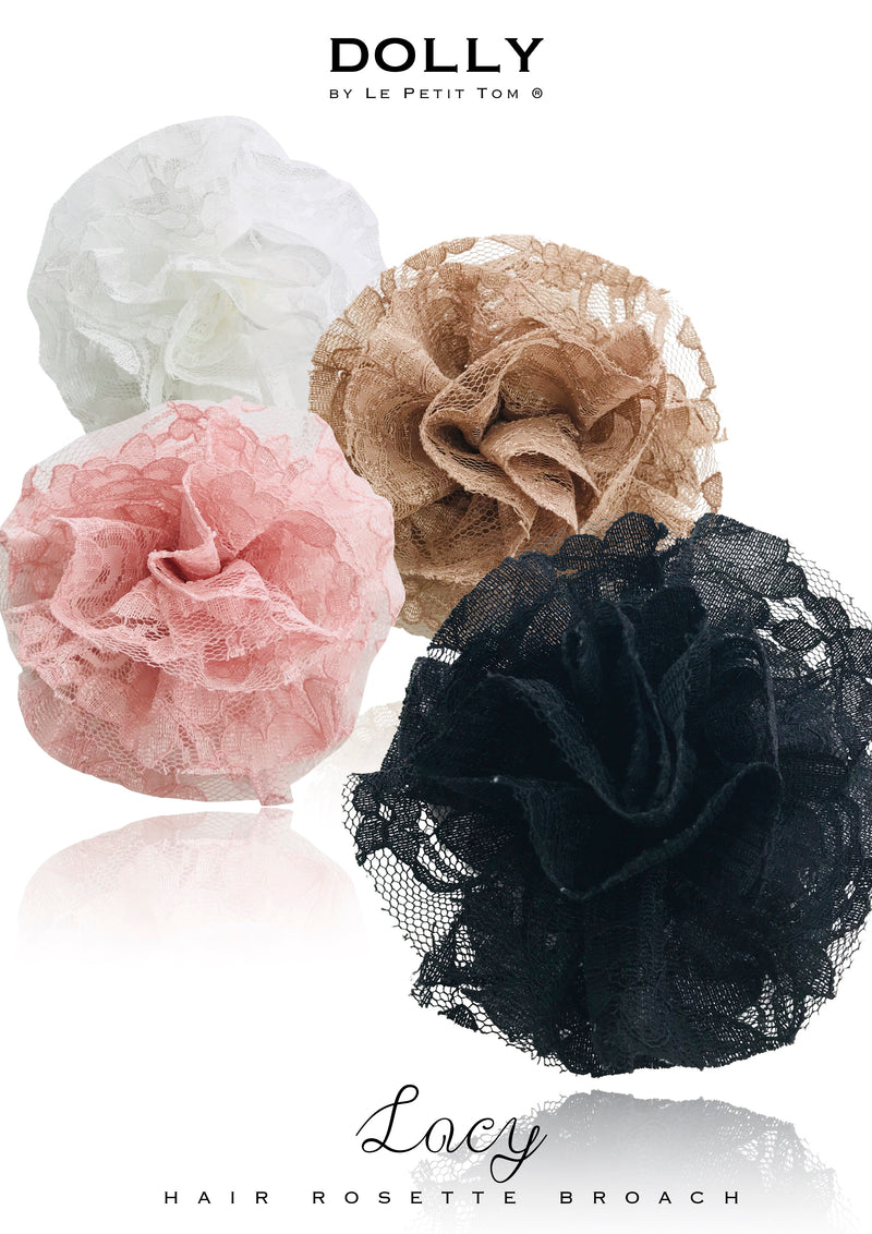 DOLLY by Le Petit Tom ® LACY HAIR ROSETTE/ BROACH many colors