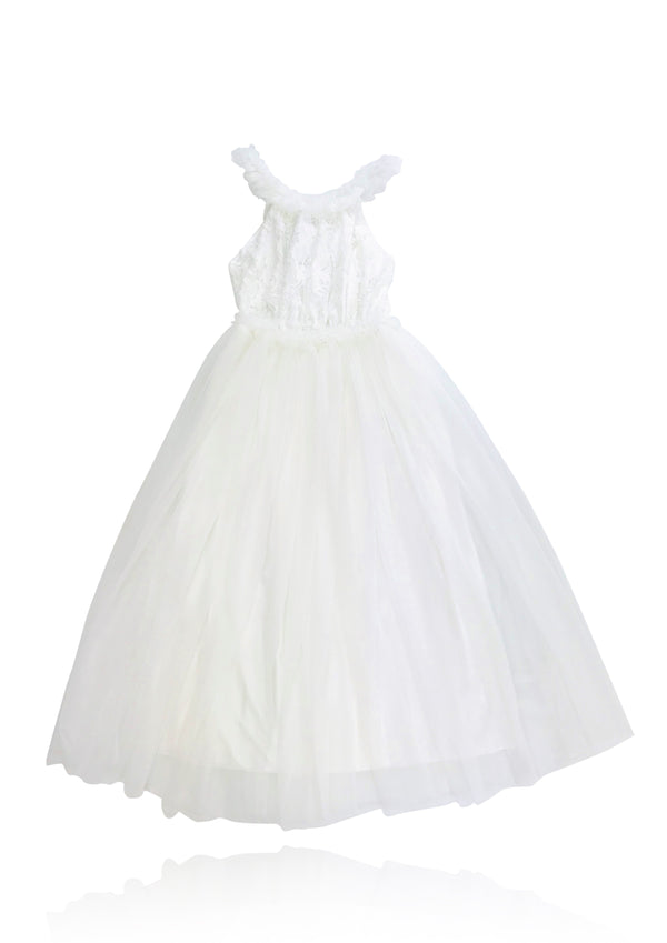 DOLLY by Le Petit Tom ® LACY NECKLACE MAXI TUTU DRESS off-white