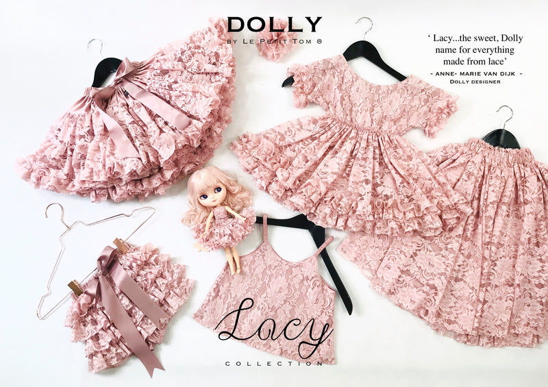 DOLLY by Le Petit Tom ® LACY SPAGHETTI TOP pink